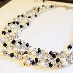 WHBM Pearl, Black and Silver Crystal Bead Necklace